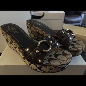Coach Signature Khaki Platform Wedge Sandal